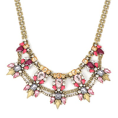 American pink gemstone decorated waterdrop design alloy Bib Necklaces