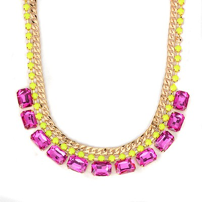 Fair plum red square CZ diamond design alloy Bib Necklaces