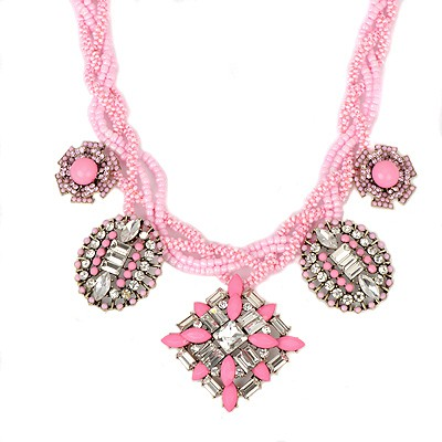 Expensive pink geometrical shape CZ diamond design alloy Bib Necklaces