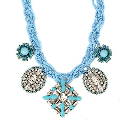 Sanctuary blue geometrical shape CZ diamond design alloy Bib Necklaces