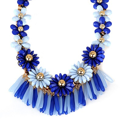 Piercing blue flower decorated tassel design alloy Bib Necklaces
