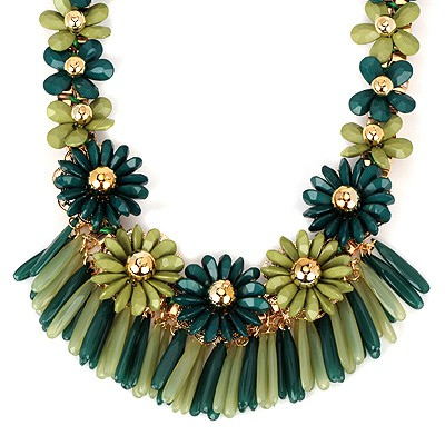 Discount green flower decorated tassel design alloy Bib Necklaces