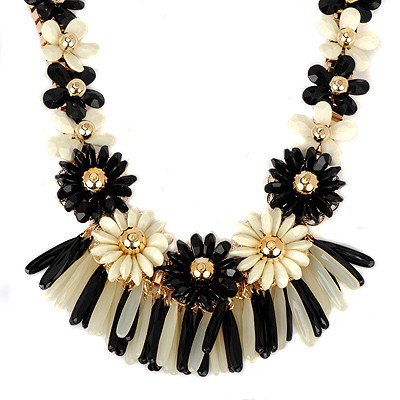 Tory black flower decorated tassel design alloy Bib Necklaces