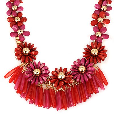 Legal red flower decorated tassel design alloy Bib Necklaces