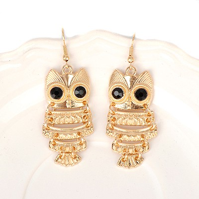 Promotiona gold color owl shape design alloy Korean Earrings