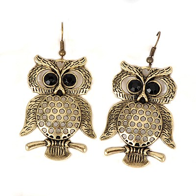 Bendable bronze hollow out owl design alloy Korean Earrings