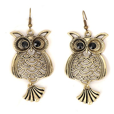 Monarchy bronze hollow out owl design alloy Korean Earrings