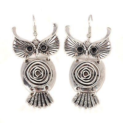 Buckle bronze hollow out owl design alloy Korean Earrings