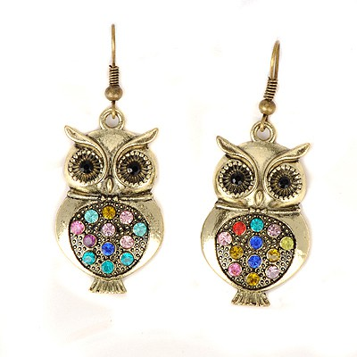 Healing bronze CZ diamond decorated owl shape design alloy Korean Earrings