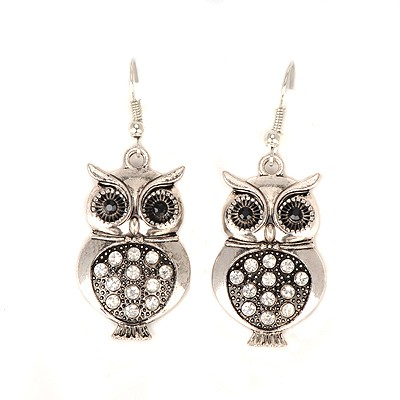 Exquisite bronze CZ diamond decorated owl shape design alloy Korean Earrings