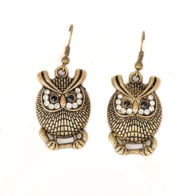 Extreme bronze owl shape design alloy Korean Earrings