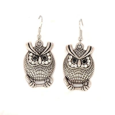 Ethnic silvery owl shape design alloy Korean Earrings