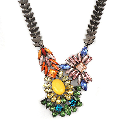 Elegant multicolor diamonddecoratedirregulardesign alloy Bib Necklaces