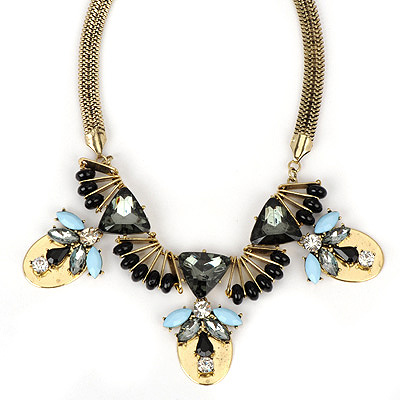 Health bronze gemstonedecoratedbeepatterndesign alloy Bib Necklaces