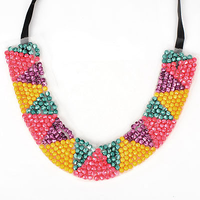 Memorable multicolor beadsweavesimpledesign alloy Bib Necklaces