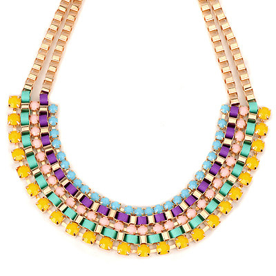 Cranes multicolor gemstonedecoratedmultilayerdesign alloy Bib Necklaces