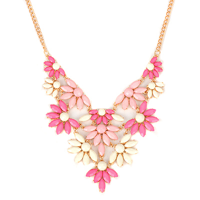 Specialty plumred acrylicstonedecoratedflowerdesign alloy Bib Necklaces