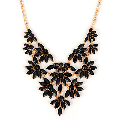 Airmail black acrylicstonedecoratedflowerdesign alloy Bib Necklaces