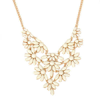 Tattoo white acrylicstonedecoratedflowerdesign alloy Bib Necklaces