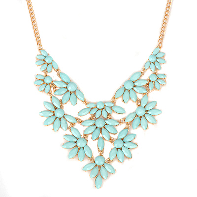 Toddler blue acrylicstonedecoratedflowerdesign alloy Bib Necklaces