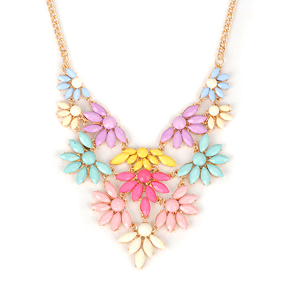 Arrowhead multicolor acrylicstonedecoratedflowerdesign alloy Bib Necklaces