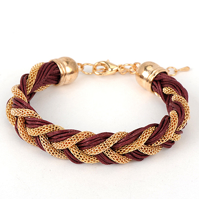 Waxing claret-red twistweavesimpledesign alloy Korean Fashion Bracelet