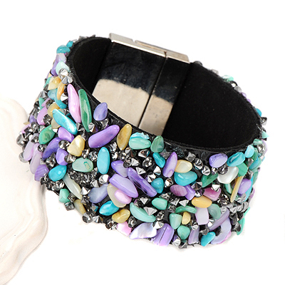 Fishing multicolor stonedecoratedirregularshapedesign alloy Korean Fashion Bracelet