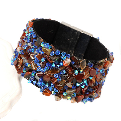 Beautiful blue&coffee stonedecoratedirregularshapedesign alloy Korean Fashion Bracelet