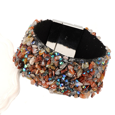 Bead coffee&gray stonedecoratedirregularshapedesign alloy Korean Fashion Bracelet