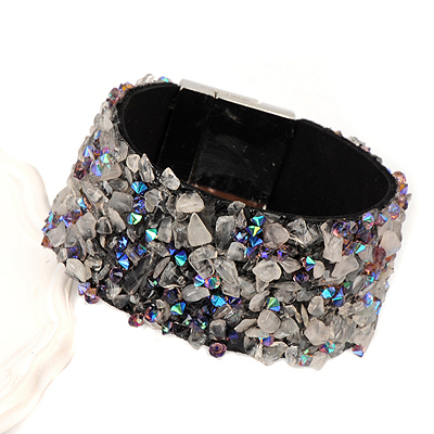 Kennedy gray&blue stonedecoratedirregularshapedesign alloy Korean Fashion Bracelet