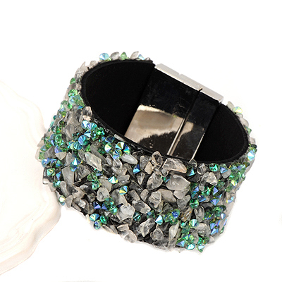 Mechanical gray&green stonedecoratedirregularshapedesign alloy Korean Fashion Bracelet