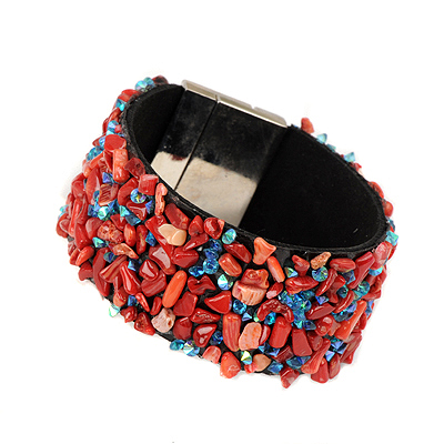 Plain darkred stonedecoratedirregularshapedesign alloy Korean Fashion Bracelet