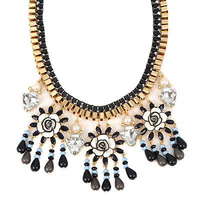 Long black threeflowerdecoratedtasseldesign alloy Bib Necklaces