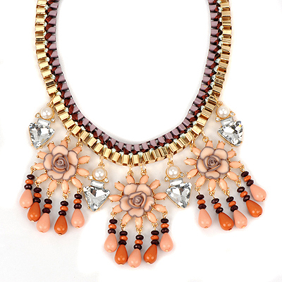 Baltic pink threeflowerdecoratedtasseldesign alloy Bib Necklaces