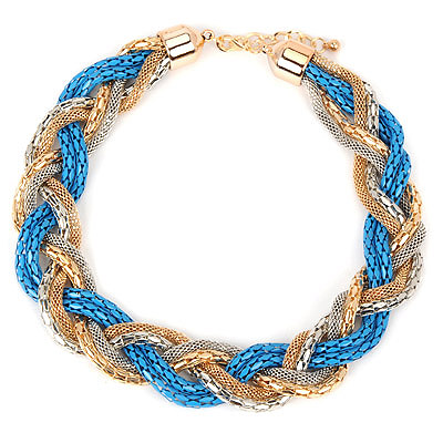 Rubber blue hollowouttwistsimpledesign alloy Bib Necklaces