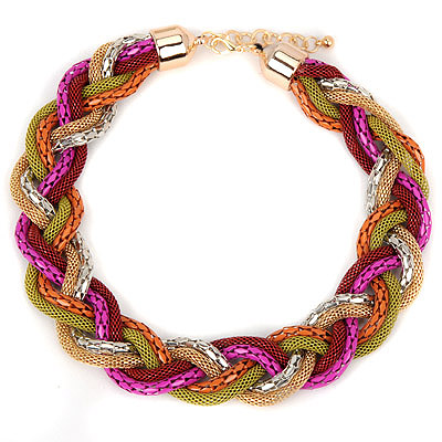 Friendly multicolor hollowouttwistsimpledesign alloy Bib Necklaces
