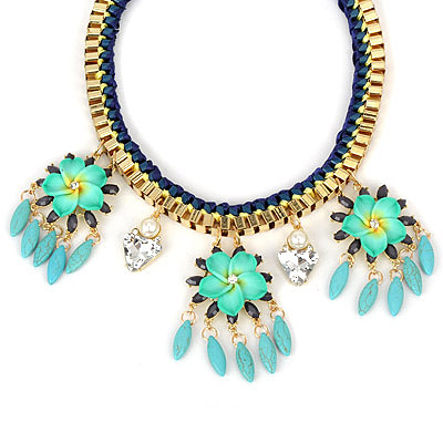 Sample green flowerdecoratedtasseldesign alloy Bib Necklaces