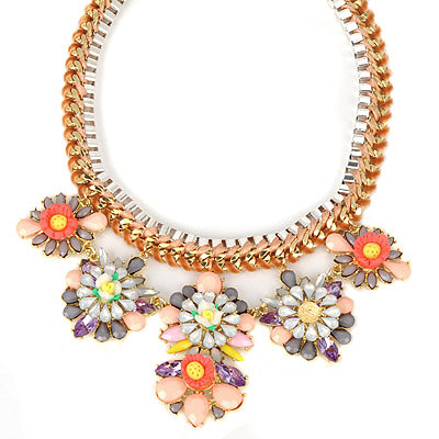 Monogramme lightcoffee gemstonedecoratedflowerdesign alloy Bib Necklaces