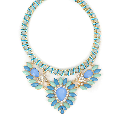 Varsity blue gemstonedecoratedflowerdesign alloy Bib Necklaces