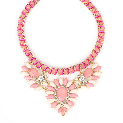 Caterpilla pink gemstonedecoratedflowerdesign alloy Bib Necklaces