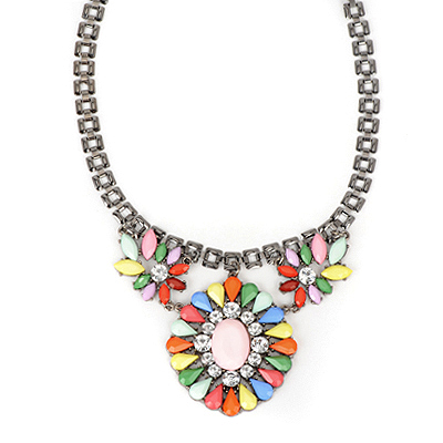 Expression multicolor gemstonedecoratedflowerdesign alloy Bib Necklaces