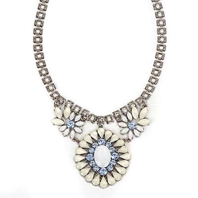 Scrapbooki white gemstonedecoratedflowerdesign alloy Bib Necklaces