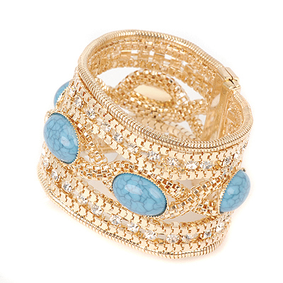 Facial blue gemstonedecoratedtwistdesign alloy Korean Fashion Bracelet