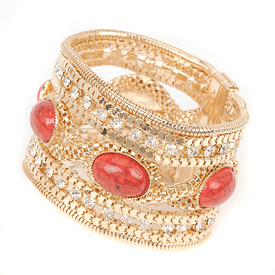 Bespoke red gemstonedecoratedtwistdesign alloy Korean Fashion Bracelet