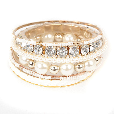 Montgomery white diamonddecoratedpearldesign alloy Fashion Bangles