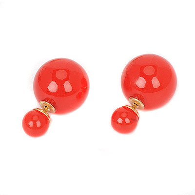 Vellum red pearldecoratedsimpledesign alloy Stud Earrings