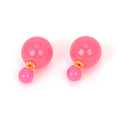 Infant plum red pearldecoratedsimpledesign alloy Stud Earrings