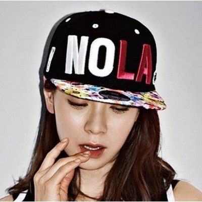 Plussize black letter NOLA embroidered design canvas Baseball Caps