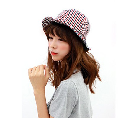 Facial red stripe pattern simple design canvas Sun Hats