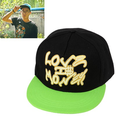 Pagan green letter LOVE MONEY embroidered luminous design canvas Baseball Caps